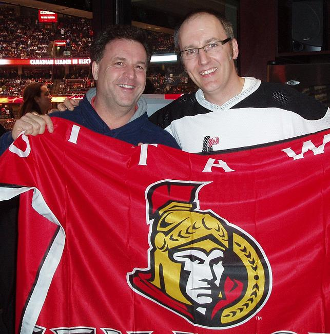 Me giving Gord Brown the flag off my back